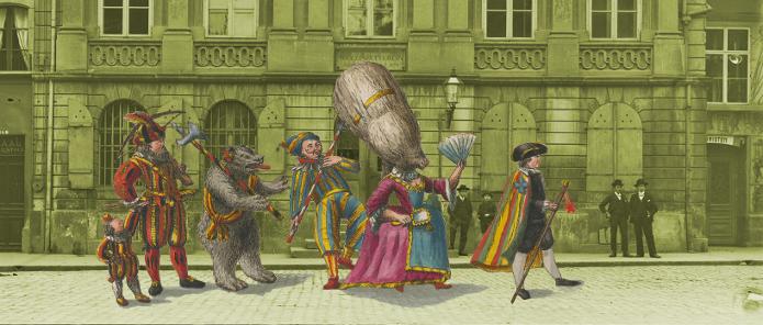 Kollage - Umzug des Äusseren Standes vor der alten Fassade. Vordergrund: Burgerbibliothek Bern Gr B 313; Hintergrund: Burgerbiliothek Bern FN G C 983